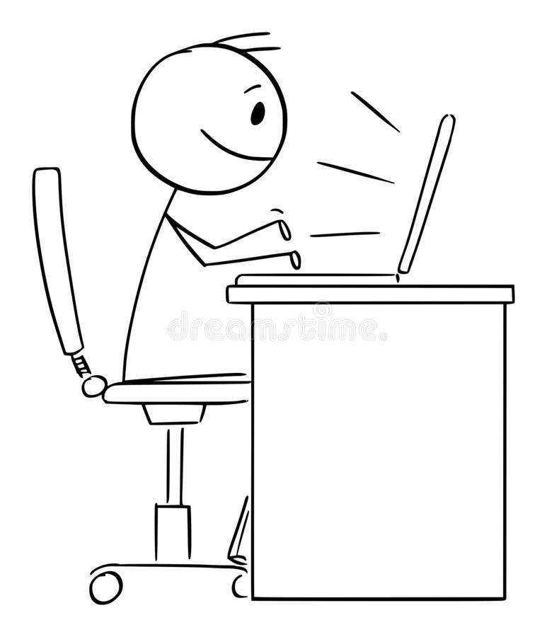 Free Person Or Office Worker Working Or Typing On Computer, Vector Cartoon Stick Figure Illustration Royalty Free Stock Images - 217799009