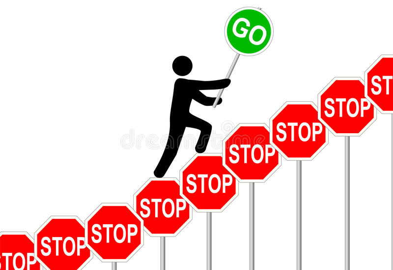 Person overcomes STOP signs raises GO sign
