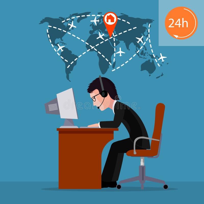 Person på datoren Anställd av appellmitten trafik för luftkontrollant royaltyfri illustrationer