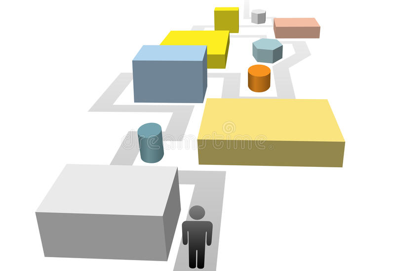 Download Person On Path Through Industrial Objects Maze Stock Vector - Image: 14646312