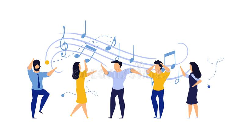 Person people vector illustration dance party woman and man. Happy friend fun disco club music dancer cartoon group celebration. Character background concert vector illustration