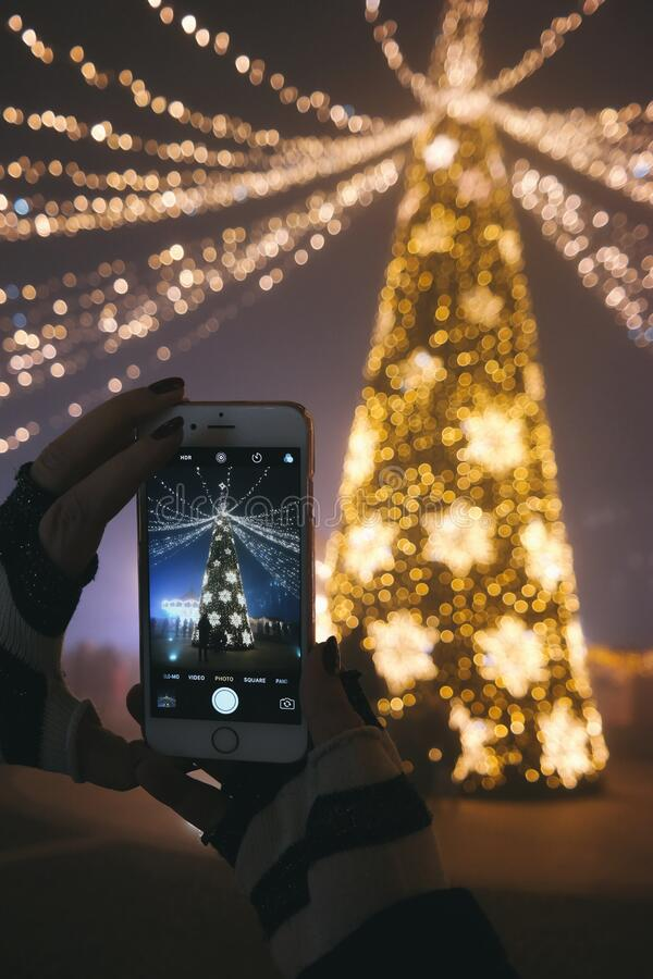 Person photographing Christmas tree stock photos