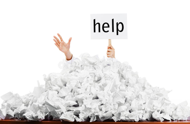 Download Person In Pile Of Papers Royalty Free Stock Photography - Image: 13640307
