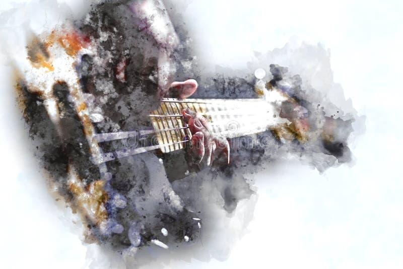 Person Playing Electric Bass Guitar nello stile dell'acquerello illustrazione di stock