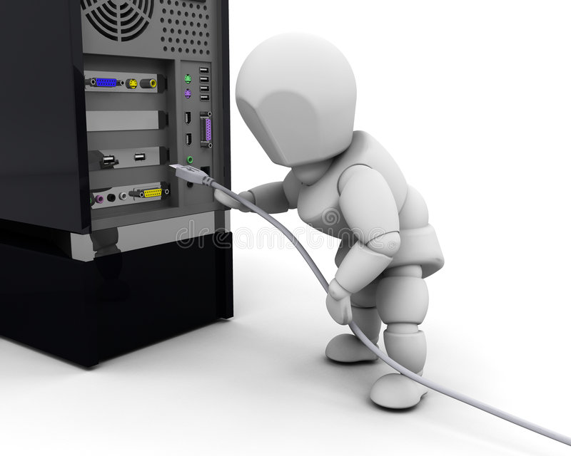 Person plugging in cable royalty free illustration