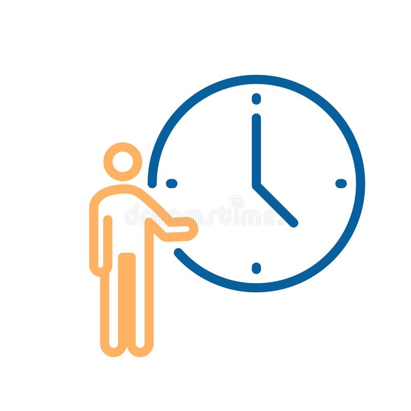 Person pointing at clock icon. Vector illustration for concepts of time, appointments, meetings, business deadlines and goals etc stock illustration