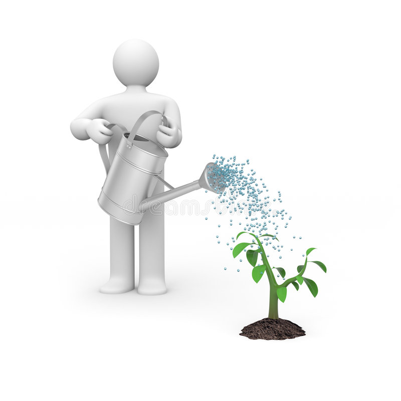 Person pouring tree. Manual worker. Isolated on white