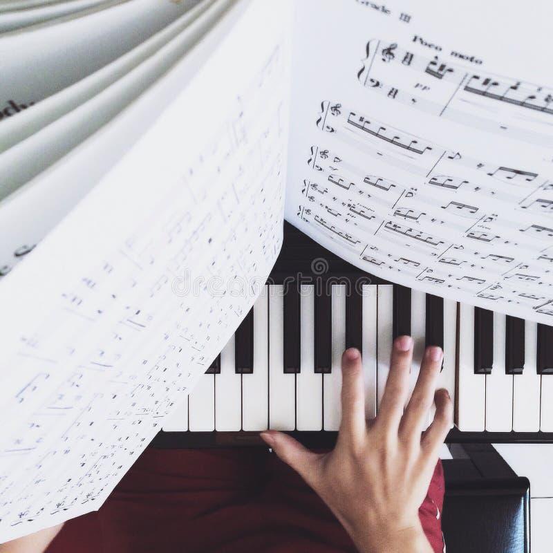 Person Practicing o piano foto de stock