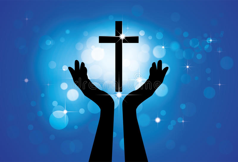Person praying or worshiping to holy cross or Jesus- graphic vector illustration