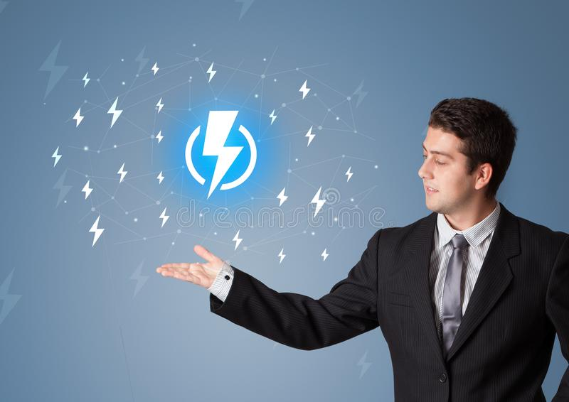 Person presenting battery life concept stock illustration