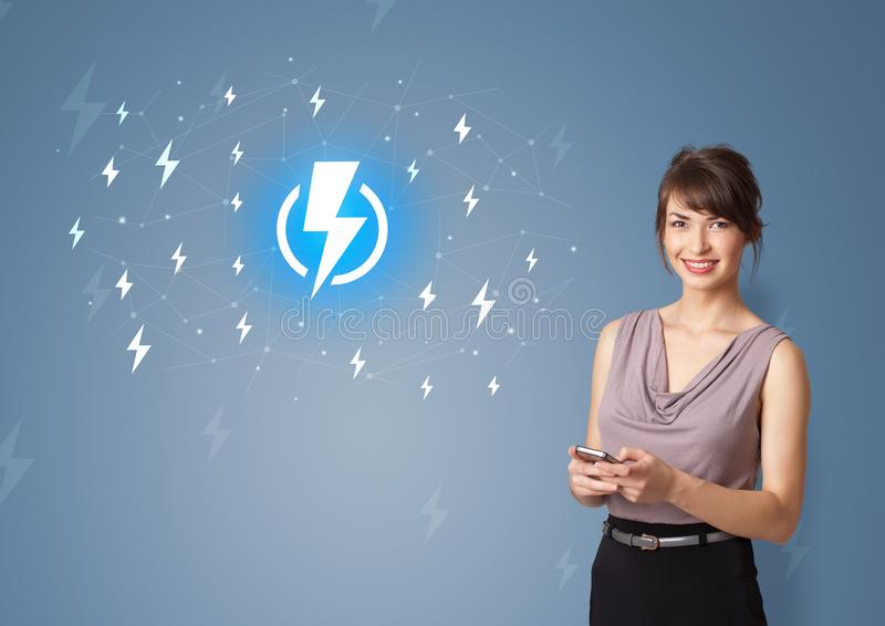 Person presenting battery life concept stock image