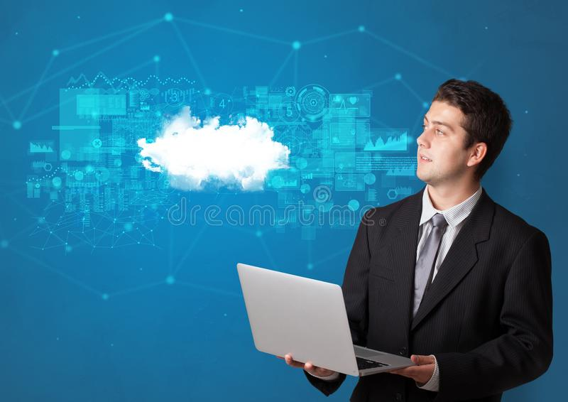 Person presenting cloud technology concept stock illustration