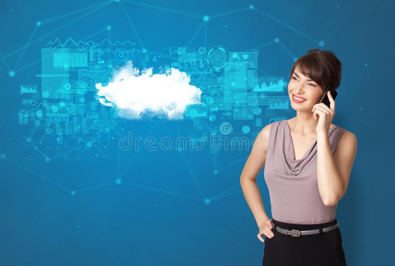 Person presenting cloud technology concept royalty free stock photography