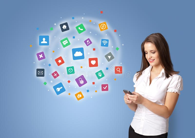 Person presenting new application icons and symbols royalty free stock photo