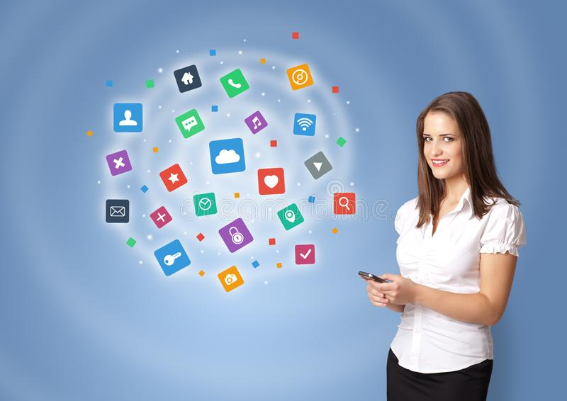 Person presenting new application icons and symbols royalty free stock photos