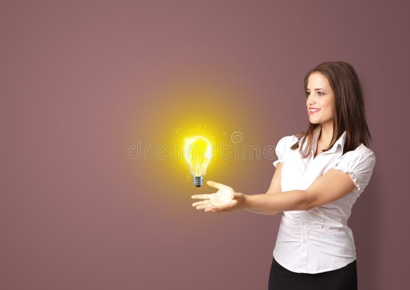 Person presenting new idea concept vector illustration