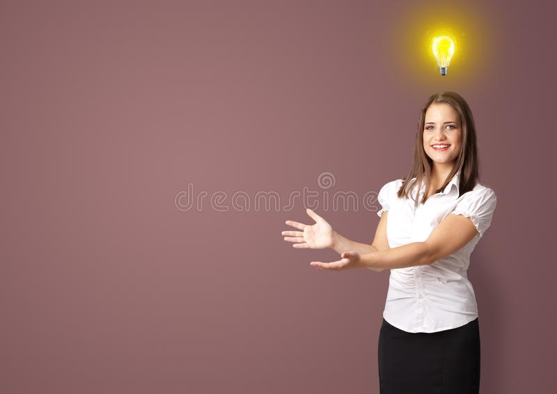 Person presenting new idea concept royalty free stock photography