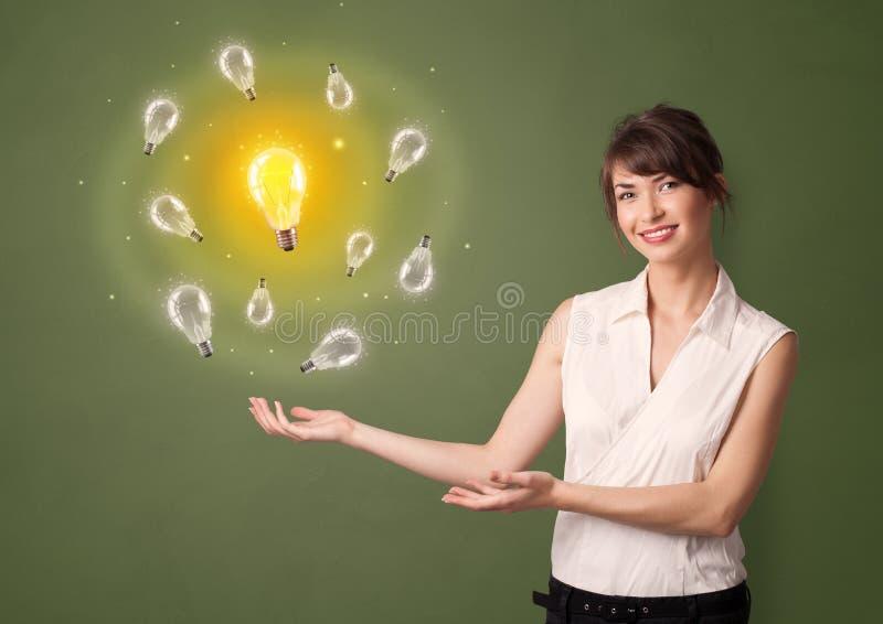 Person presenting new idea concept stock image