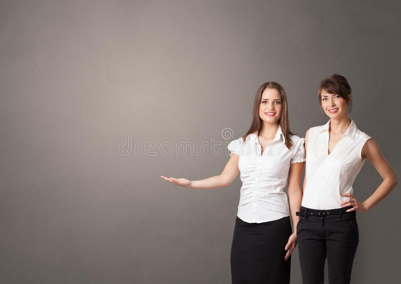 Person presenting something with empty space stock images