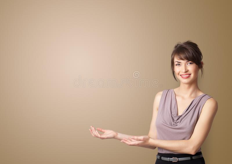 Person presenting something with empty space royalty free stock photo