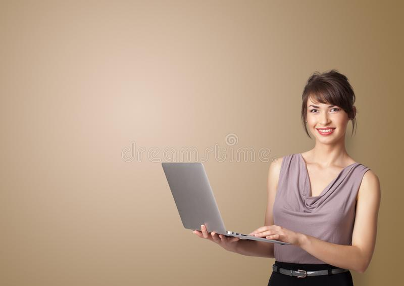 Person presenting something with empty space stock photography