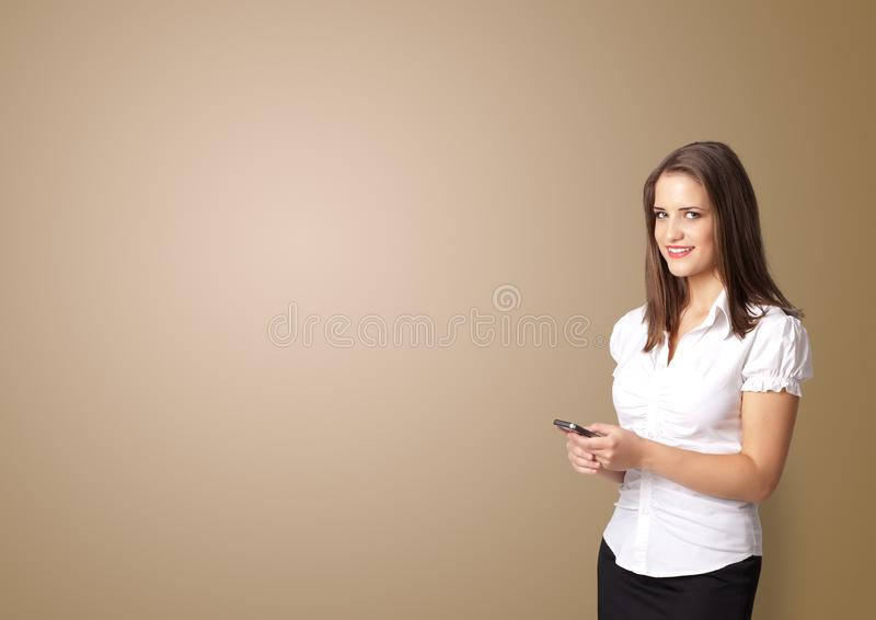 Person presenting something with empty space stock image