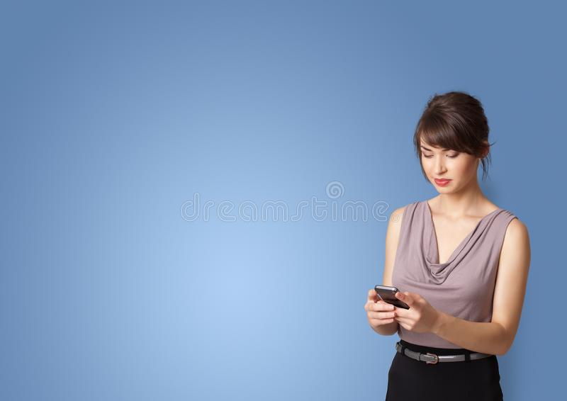 Person presenting something with empty space royalty free stock image