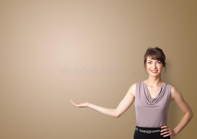 Person presenting something with empty space stock photos