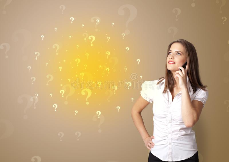 Person presenting something with question sign concept stock photos