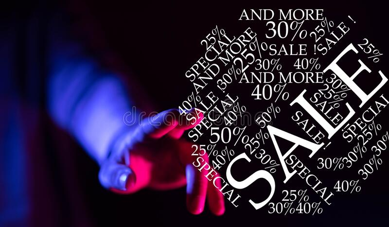 Person presenting a virtual projection of online shopping sales icons royalty free stock photos