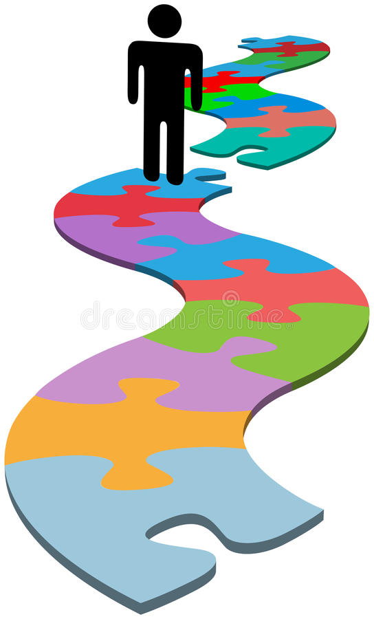 Person problem missing piece puzzle find solution stock illustration