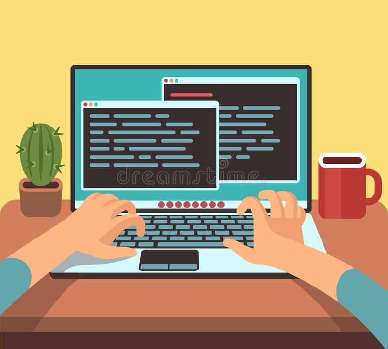 Person programmer working on pc laptop with program code on screen. Coding and programming vector concept. Illustration of developer programming software vector illustration