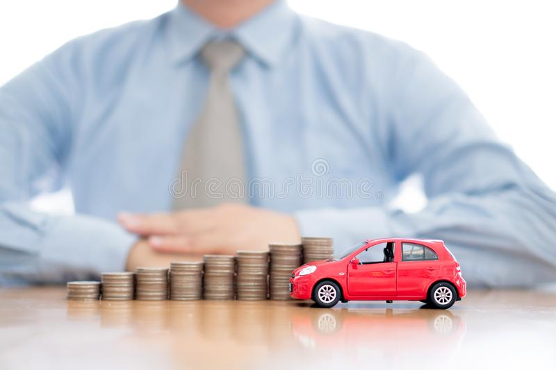 Increasing Stacked Coins And Car royalty free stock images