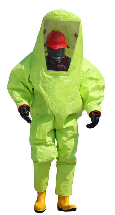 Person with protective yellow suit and boots. Man with protective yellow suit and white background stock photo