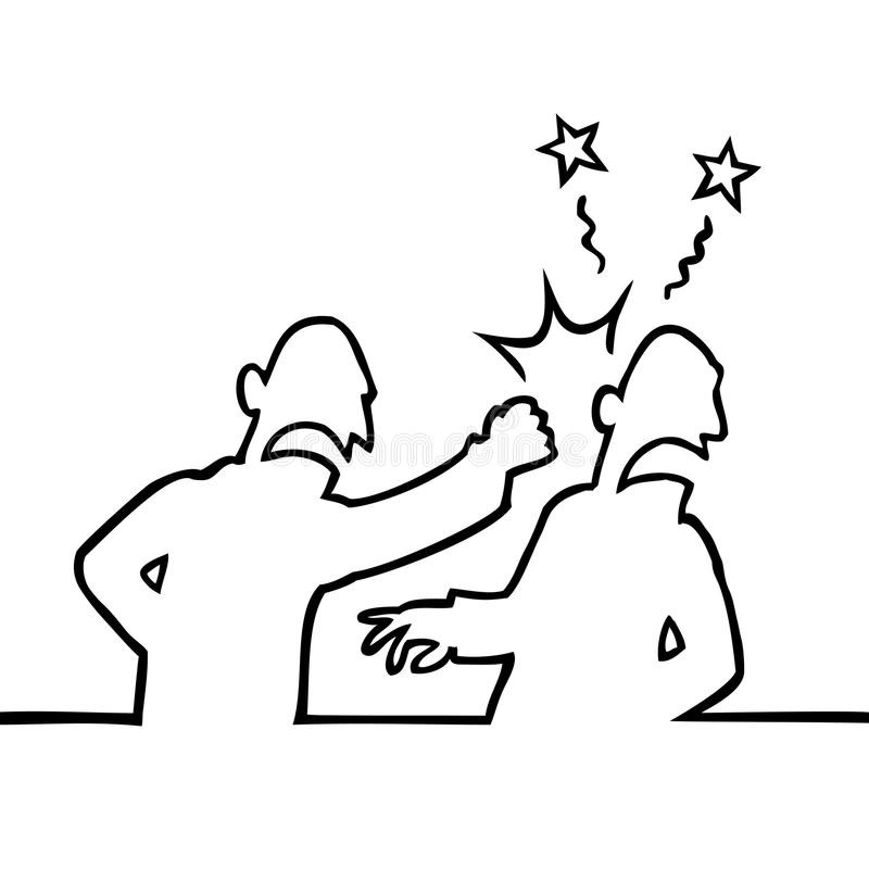 Person punching another man in the face royalty free illustration