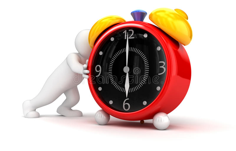Person pushes alarm clock. Business concept. Image with clipping path vector illustration