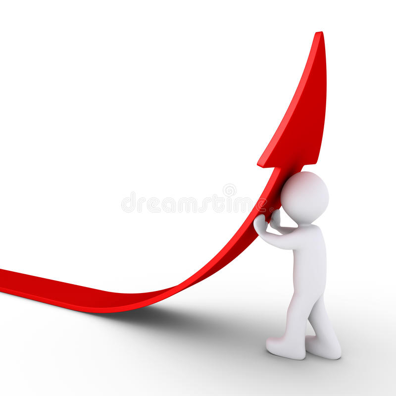 Person pushes an arrow to rise. 3d person is pushing an arrow in order to rise from the ground royalty free illustration