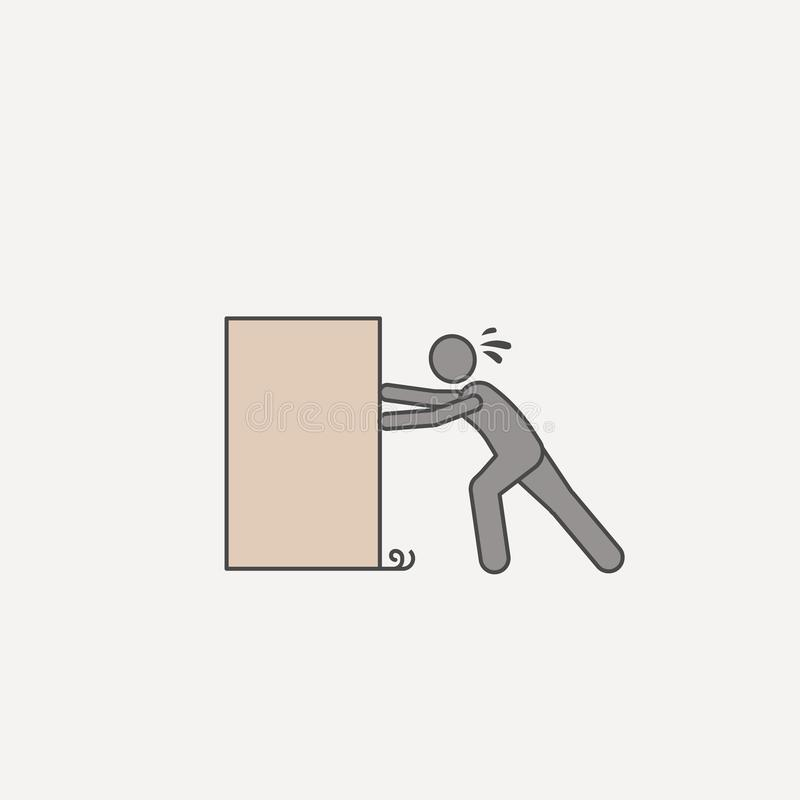 Person pushes box hard 2 colored line icon. Simple colored element illustration. person pushes box hard outline symbol design from. Carrying and picking box set stock illustration