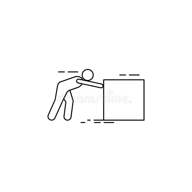 The person pushes the box hard icon. Element of man carries a box illustration. Premium quality graphic design icon. Signs and sym. Bols collection icon for vector illustration