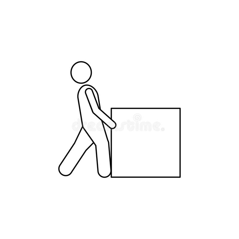 The person pushes the box hard icon. Element of man carries a box illustration. Premium quality graphic design icon. Signs and sym. Bols collection icon for stock illustration
