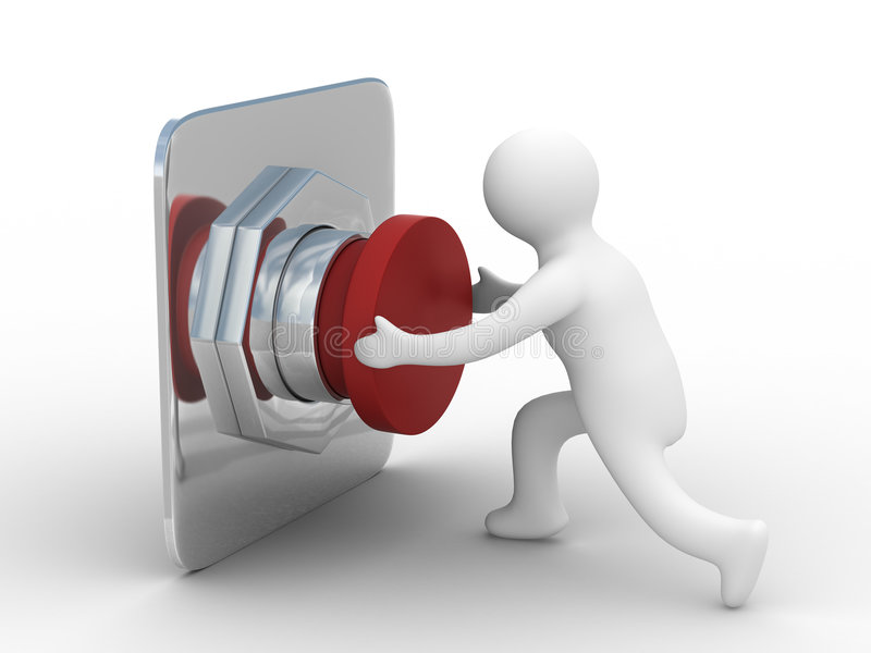 Person pushes the button. Isolated 3D image royalty free illustration