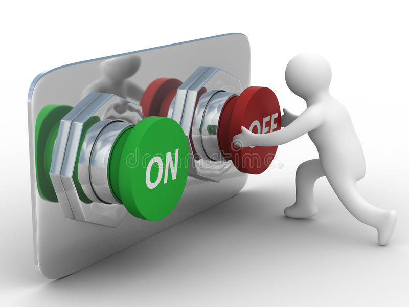 Person pushes the button. Isolated 3D image vector illustration