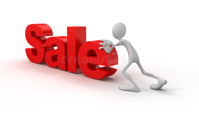 Person pushes sale. Business concept on white background royalty free illustration