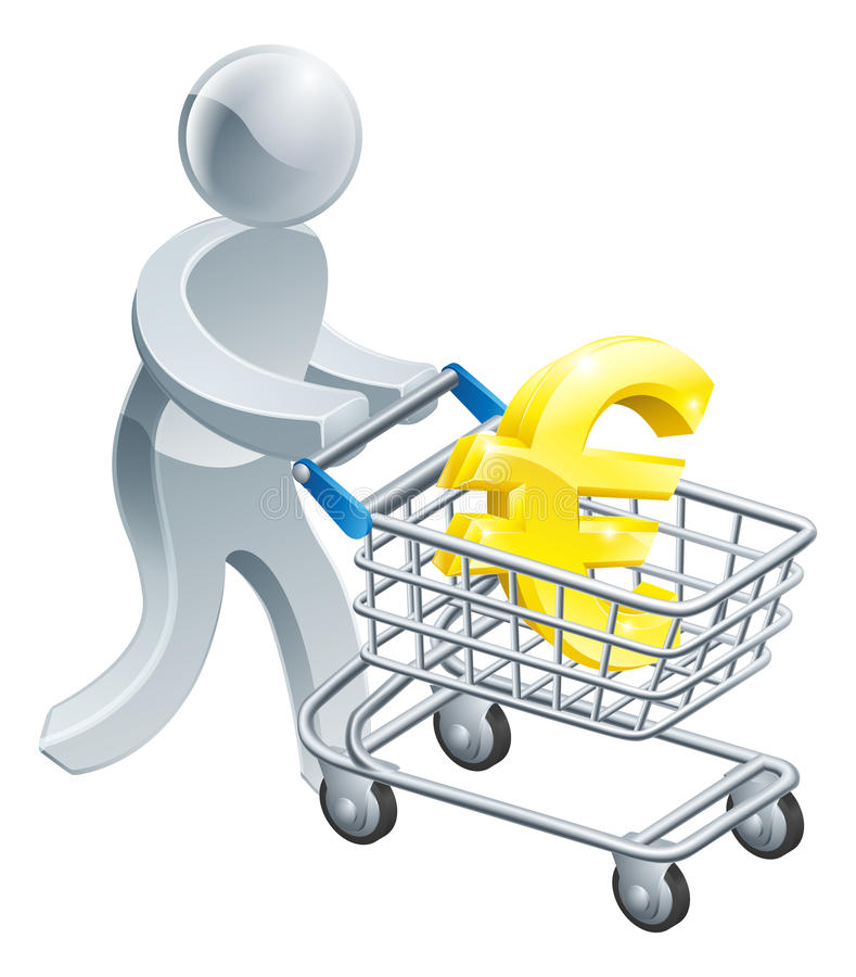 Download Person Pushing Trolley With Euro Sign Stock Vector - Image: 39395996