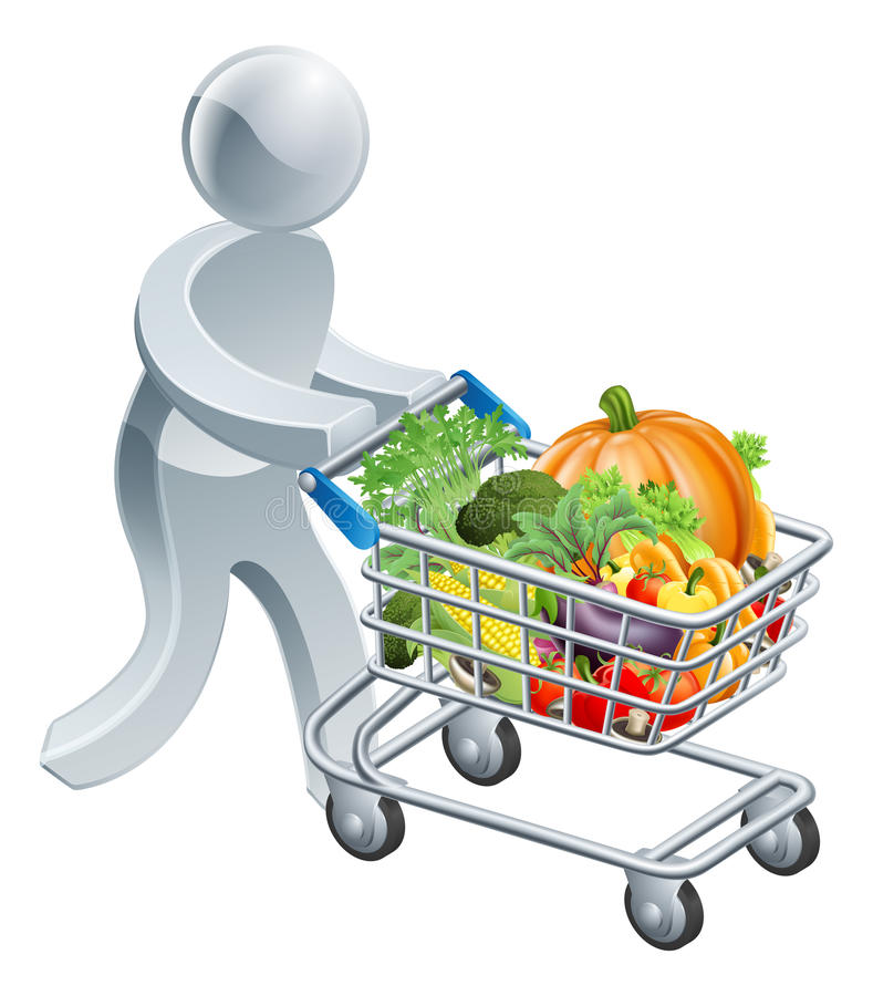 Person pushing trolley with vegetables vector illustration
