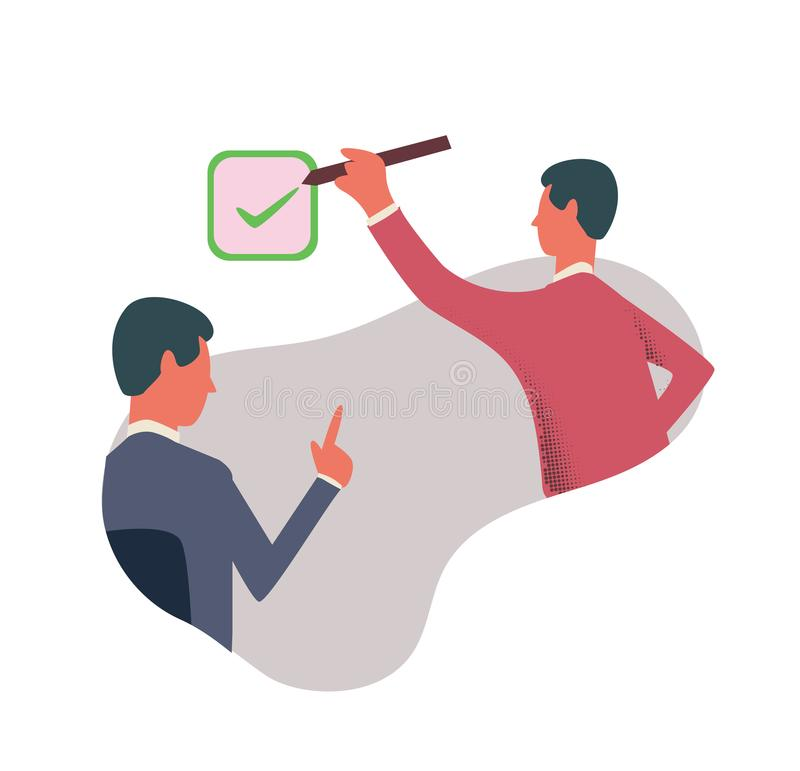 A person puts a tick in the checkbox. The symbol of the consent. Concept vector illustration, isolated on white. A person puts a tick in the checkbox. The vector illustration