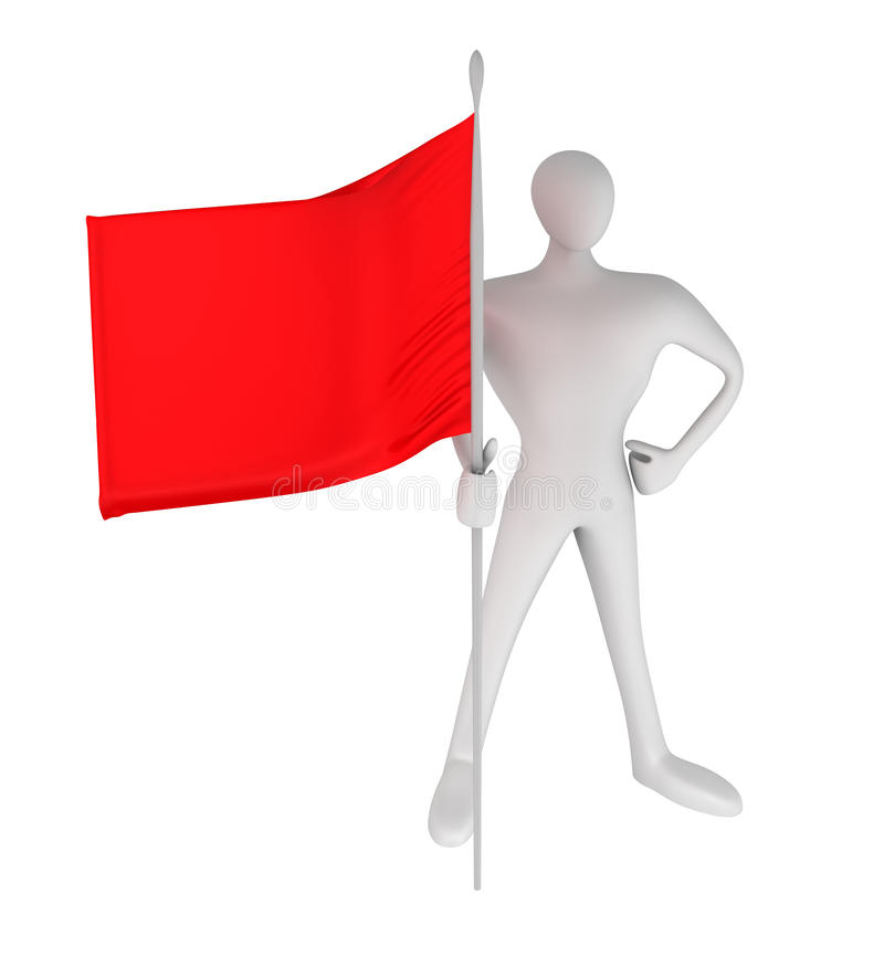 Person With Red Flag Stock Photos