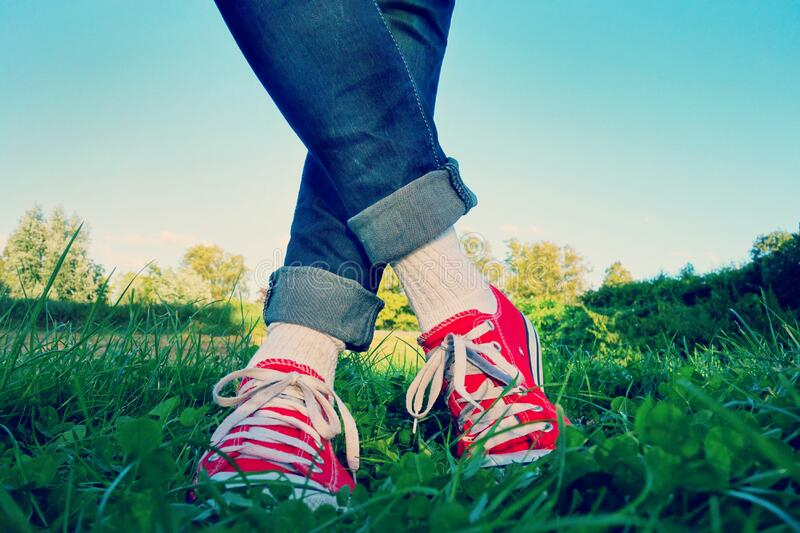 Person In Red Low Top Sneakers Free Public Domain Cc0 Image