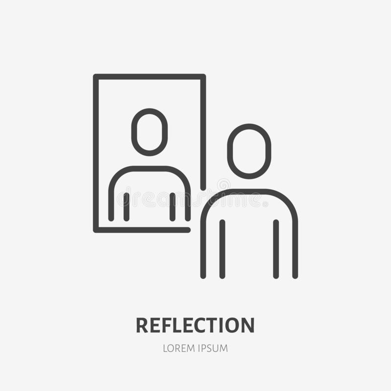 Free Person Reflection In A Mirror Line Icon, Vector Pictogram Of Confidence. Man Looking At Himself Illustration, Narcissism Royalty Free Stock Photo - 166466425