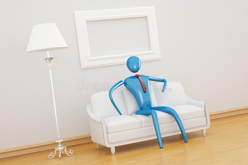 Person relaxing in clear interior. Person relaxing in clear white interior stock illustration